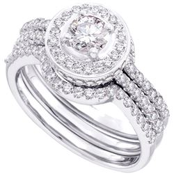 0.68 CTW Diamond Bridal Wedding Engagement Ring 14KT White Gold - REF-112Y5X