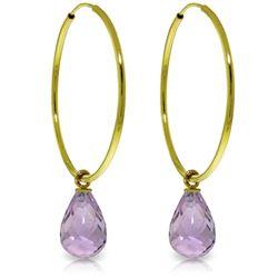 Genuine 4.5 ctw Amethyst Earrings Jewelry 14KT Yellow Gold - REF-26V2W