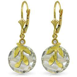Genuine 10.63 ctw Green Amethyst & Diamond Earrings Jewelry 14KT Yellow Gold - REF-44F7Z