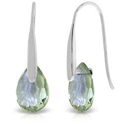 Genuine 6 ctw Green Amethyst Earrings Jewelry 14KT White Gold - REF-38V5W