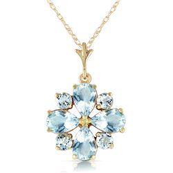 Genuine 2.43 ctw Aquamarine Necklace Jewelry 14KT Yellow Gold - REF-36P8H