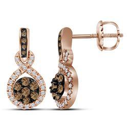 0.50 CTW Cognac-brown Color Diamond Cluster Dangle Earrings 10KT Rose Gold - REF-52K4W