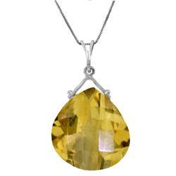 Genuine 8.5 ctw Citrine Necklace Jewelry 14KT White Gold - REF-26N9R