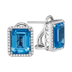 3.66 CTW Cushion Blue Topaz Solitaire Diamond French-clip Earrings 14KT White Gold - REF-101F9N