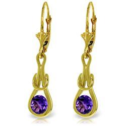 Genuine 1.30 ctw Amethyst Earrings Jewelry 14KT Yellow Gold - REF-49Z3N
