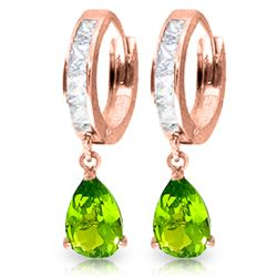 Genuine 3.9 ctw White Topaz & Peridot Earrings Jewelry 14KT Rose Gold - REF-50T6A