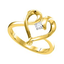 0.05 CTW Diamond Heart Love Promise Bridal Ring 10KT Yellow Gold - REF-14F9N