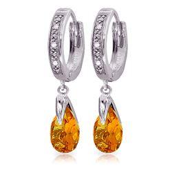 Genuine 2.53 ctw Citrine & Diamond Earrings Jewelry 14KT White Gold - REF-58W2Y