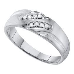 0.12 CTW Mens Diamond Wedding Ring 10KT White Gold - REF-16M4H