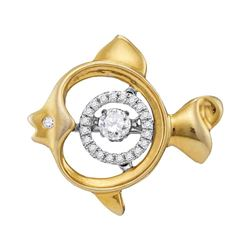 0.24 CTW Moving Twinkle Diamond Fish Pendant 10KT Yellow Gold - REF-32W9K