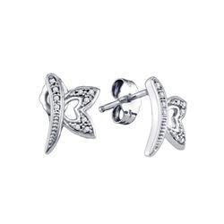 0.05 CTW Diamond Butterfly Bug Earrings 10KT White Gold - REF-13F4N