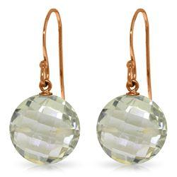 Genuine 12 ctw Green Amethyst Earrings Jewelry 14KT Rose Gold - REF-24H4X