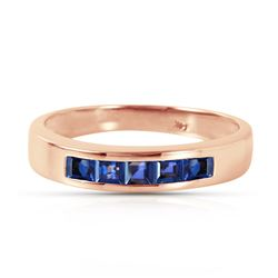 Genuine 0.60 ctw Sapphire Ring Jewelry 14KT Rose Gold - REF-47Z5N