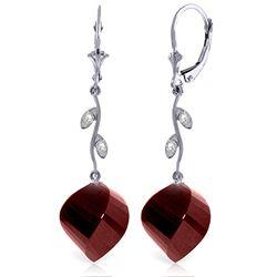 Genuine 30.52 ctw Ruby & Diamond Earrings Jewelry 14KT White Gold - REF-66T2A