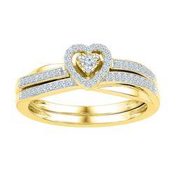0.25 CTW Diamond Heart Bridal Engagement Ring 10KT Yellow Gold - REF-33M8H