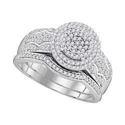 0.50 CTW Diamond Cluster Bridal Engagement Ring 10KT White Gold - REF-52N4F