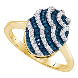 0.33 CTW Blue Color Diamond Oval Cluster Ring 10KT Yellow Gold - REF-24X2Y