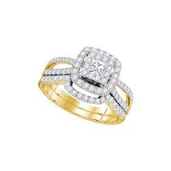 1 CTW Princess Diamond Bridal Engagement Ring 14K Yellow Gold - REF-151F5N