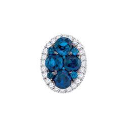 0.75 CTW Blue Sapphire Diamond Oval Cluster Pendant 14KT White Gold - REF-52K4W