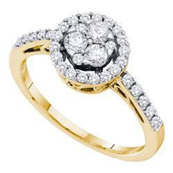 0.50 CTW Diamond Flower Cluster Halo Ring 14KT Yellow Gold - REF-47X9Y