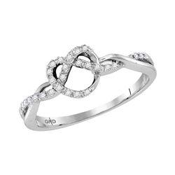 0.13 CTW Diamond Heart Pretzel Ring 10KT White Gold - REF-19K4W
