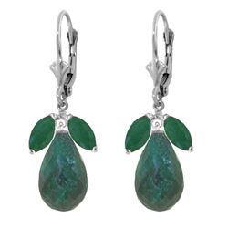 Genuine 18.6 ctw Emerald & Green Sapphire Corundum Earrings Jewelry 14KT White Gold - REF-49N3R