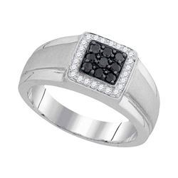0.40 CTW Mens Black Color Diamond Square Cluster Ring 10KT White Gold - REF-41X9Y