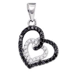 0.32 CTW Black Color Pave-set Diamond Open-Center Heart Pendant 10KT White Gold - REF-19H4M