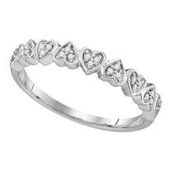 0.10 CTW Diamond Heart Love Ring 10KT White Gold - REF-13X4Y