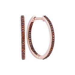 0.25 CTW Red Color Diamond Hoop Earrings 10KT Rose Gold - REF-28F4N