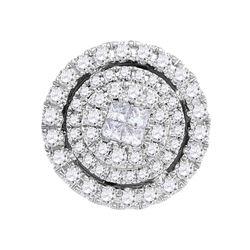 0.50 CTW Princess Diamond Soleil Cluster Pendant 14KT White Gold - REF-56Y2X