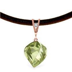 Genuine 13.01 ctw Green Amethyst & Diamond Necklace Jewelry 14KT Rose Gold - REF-45P3H