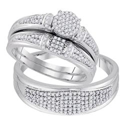 0.50 CTW Diamond Cluster His & Hers Matching Trio Ring 10KT White Gold - REF-64M4H