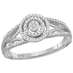 0.20 CTW Diamond Cluster Bridal Engagement Ring 10KT White Gold - REF-24H2M