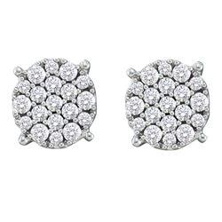 0.52 CTW Pave-set Diamond Flower Cluster Earrings 14KT White Gold - REF-57K2W