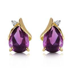 Genuine 3.16 ctw Amethyst & Diamond Earrings Jewelry 14KT Yellow Gold - REF-45H2X