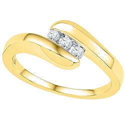 0.12 CTW Diamond 3-stone Promise Bridal Ring 10KT Yellow Gold - REF-22M4H