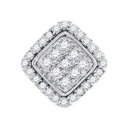 0.25 CTW Diamond Diagonal Square Cluster Pendant 10KT White Gold - REF-18M2H