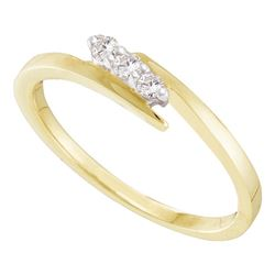 0.10 CTW Diamond 3-stone Promise Bridal Ring 10KT Yellow Gold - REF-11Y2X