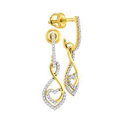 0.25 CTW Diamond Heart Dangle Screwback Earrings 10KT Yellow Gold - REF-22N4F