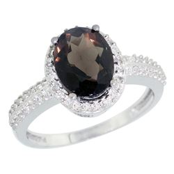Natural 1.91 ctw Smoky-topaz & Diamond Engagement Ring 14K White Gold - REF-41W3K