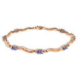 Genuine 2.01 ctw Tanzanite & Diamond Bracelet Jewelry 14KT Rose Gold - REF-89W5Y