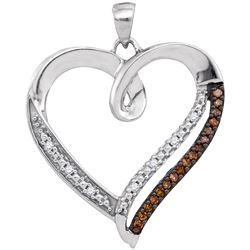 0.15 CTW Cognac-brown Color Diamond Heart Love Pendant 10KT White Gold - REF-18H2M