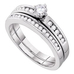 0.50 CTW Diamond Bridal Wedding Engagement Ring 10KT White Gold - REF-52Y4X