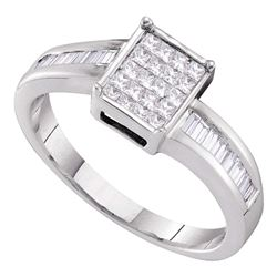 0.40 CTW Princess Diamond Square Cluster Bridal Engagement Ring 14KT White Gold - REF-44Y9X