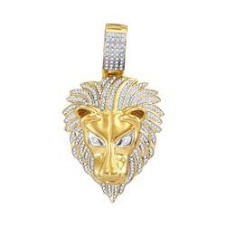0.85 CTW Mens Diamond Lion Head Animal Charm Pendant 10KT Yellow Gold - REF-101M2H