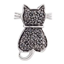 0.25 CTW Black Color Diamond Kitty Cat Pendant 14KT White Gold - REF-22F4N