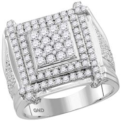 2.7 CTW Mens Diamond Square Cluster Ring 10KT White Gold - REF-179Y9X
