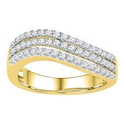 0.50 CTW Diamond Triple Row Ring 10KT Yellow Gold - REF-52X4Y