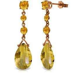 Genuine 13.2 ctw Citrine Earrings Jewelry 14KT Rose Gold - REF-39H3X